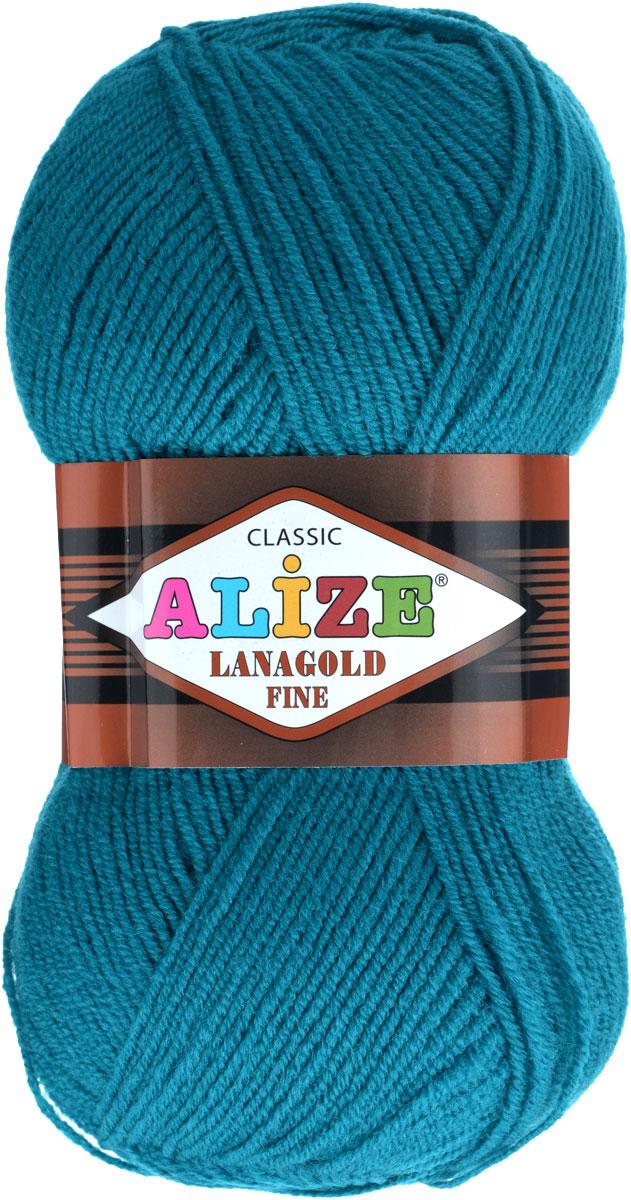 Пряжа для вязания Alize Lanagold Fine, цвет: павлиновая зелень (640), 390 м, 100 г, 5 шт547499_640Alize Lanagold Fine - это полушерстяная пряжа для ручного вязания. Нить плотно скручена, гибкая, послушная, не пушится, не электризуется, аккуратно ложится в петли и не деформируется после распускания. Стойкое равномерное окрашивание обеспечивает широкую палитру оттенков, высокое качество материала и используемых красителей защищает от потери цвета. Соотношение шерсти и акрила - формула практичности. Высокие тепловые характеристики сочетаются с эстетикой, носкостью и простотой ухода за вещью. Классическая пряжа для зимнего сезона, может использоваться для детской и взрослой одежды. Alize Lanagold Fine - универсальная пряжа, которая будет хорошо смотреться в узорах любой сложности. Рекомендуемый размер спиц 2,5-4 мм и крючка 2-4 мм. Состав: 49% шерсть, 51% акрил.