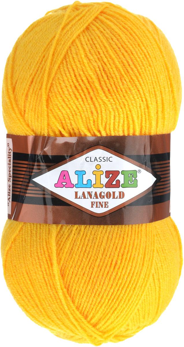 Пряжа для вязания Alize Lanagold Fine, цвет: желтый (216), 390 м, 100 г, 5 шт547499_216Alize Lanagold Fine - это полушерстяная пряжа для ручного вязания. Нить плотно скручена, гибкая, послушная, не пушится, не электризуется, аккуратно ложится в петли и не деформируется после распускания. Стойкое равномерное окрашивание обеспечивает широкую палитру оттенков, высокое качество материала и используемых красителей защищает от потери цвета. Соотношение шерсти и акрила - формула практичности. Высокие тепловые характеристики сочетаются с эстетикой, носкостью и простотой ухода за вещью. Классическая пряжа для зимнего сезона, может использоваться для детской и взрослой одежды. Alize Lanagold Fine - универсальная пряжа, которая будет хорошо смотреться в узорах любой сложности. Рекомендуемый размер спиц 2,5-4 мм и крючка 2-4 мм. Состав: 49% шерсть, 51% акрил.