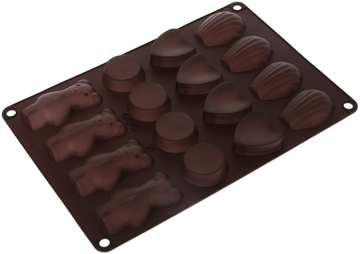 Форма для выпечки Taller, цвет: коричневый, 16 ячеекTR-6213_коричневыйФорма для выпечки Taller изготовлена из высококачественного силикона. Изделия из силикона очень удобны в использовании: пища в них не пригорает и не прилипает к стенкам, форма легко моется. Приготовленное блюдо можно очень просто вытащить, просто перевернув форму, при этом внешний вид блюда не нарушится. Изделие обладает эластичными свойствами: складывается без изломов, восстанавливает свою первоначальную форму. Форма содержит 16 разных ячеек. Порадуйте своих родных и близких любимой выпечкой в необычном исполнении. Подходит для приготовления в микроволновой печи и духовом шкафу при нагревании до +220°С, для замораживания до -20°С. Можно мыть в посудомоечной машине. Размер формы: 30 х 18,5 см. Средний размер ячейки: 7,5 х 4 см. Высота стенок: 1,5 см. Количество ячеек: 16 шт.