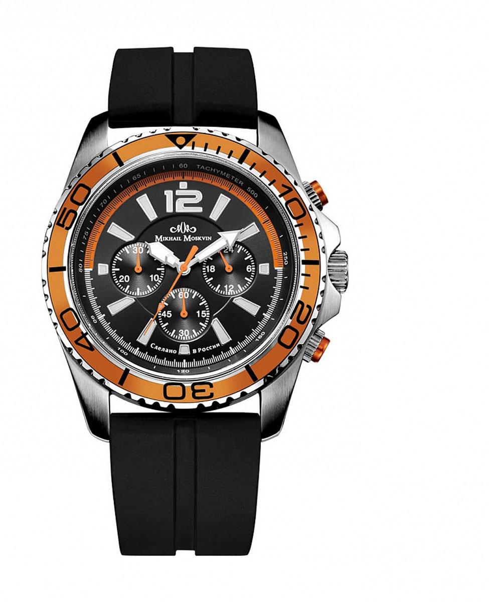 Наручные часы мужские Mikhail Moskvin, цвет: серебристый, оранжевый. 1165S0L21165S0L2Широкий безель оранжевого цвета с черной индикацией минутной шкалы, сложный контрастный циферблат и ремень из каучука угольно-черного цвета.Кварцевый механизм-хронограф(Япония).Механизм оснащен 24-шкалой