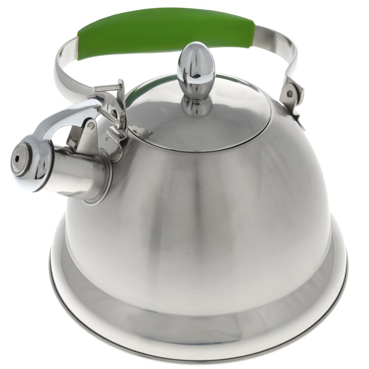 Чайник Mayer & Boch, со свистком, цвет: салатовый, стальной, 3 л. 2320623206_салатовый, стальнойЧайник Mayer & Boch выполнен из высококачественной нержавеющей стали, что обеспечивает долговечность использования. Сочетание матовой и глянцевой поверхности придает посуде эстетичный внешний вид. Ручка оснащена силиконовой вставкой для предотвращения ожогов на руках. Чайник снабжен свистком и устройством для открывания носика. Можно мыть в посудомоечной машине. Пригоден для газовой, электрической, стеклокерамической, галогеновой плиты. Диаметр (по верхнему краю): 10 см. Высота чайника (без учета крышки и ручки): 14 см. Диаметр основания: 22 см.