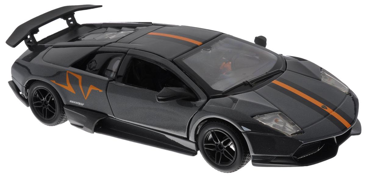 Bburago Модель автомобиля Lamborghini Murcielago LP 670-4 SV18-22120Модель автомобиля Bburago Lamborghini Murcielago LP 670-4 SV предназначена для тех, кто любит роскошь и высокие скорости. Она представлена в масштабе 1:24 и в точности воспроизводит все детали внешнего облика реального автомобиля. Корпус машинки выполнен из металла с использованием пластиковых элементов, колеса прорезинены. Модель оборудована открывающимися дверцами, подвижными колесами, а также имеется доступ к двигателю, находящемуся в задней части машины. Во время игры с такой машинкой у ребенка развивается мелкая моторика рук, фантазия и воображение.