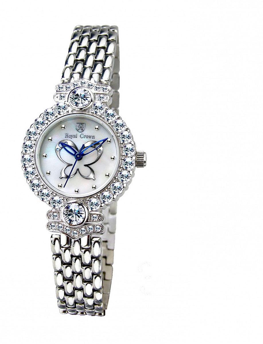 Часы женские наручные Royal Crown, цвет: серебряный, белый. 3844-RDM-63844-RDM-6Элегантные женские часы Royal Crown изготовлены из латуни нержавеющей стали и минерального стекла. Корпус изделия оформлен чешскими цирконами, циферблат дополнен перламутром и изображением бабочки. Корпус часов оснащен кварцевым механизмом, который имеет степень влагозащиты равную 3 Bar, а также устойчивым к царапинам минеральным стеклом. Практичный складной замок, предусмотренный в конструкции браслета, позволит снимать и надевать часы. Часы поставляются в фирменной упаковке. Часы Royal Crown подчеркнут изящность женской руки и отменное чувство стиля у их обладательницы.
