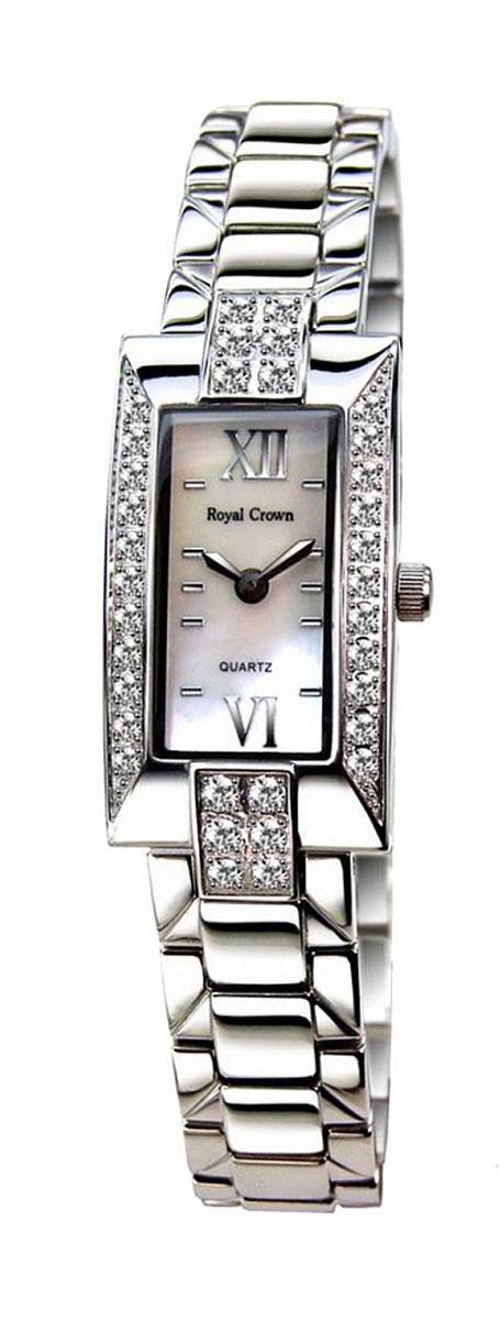 Часы женские наручные Royal Crown, цвет: серебряный, белый. 3591-RDM-63591-RDM-6Элегантные женские часы Royal Crown изготовлены из латуни нержавеющей стали и минерального стекла. Корпус изделия инкрустирован чешскими цирконами, циферблат дополнен перламутром. Корпус часов оснащен кварцевым механизмом, который имеет степень влагозащиты равную 3 Bar, а также устойчивым к царапинам минеральным стеклом. Практичный складной замок, предусмотренный в конструкции браслета, позволит снимать и надевать часы. Часы поставляются в фирменной упаковке. Часы Royal Crown подчеркнут изящность женской руки и отменное чувство стиля у их обладательницы.