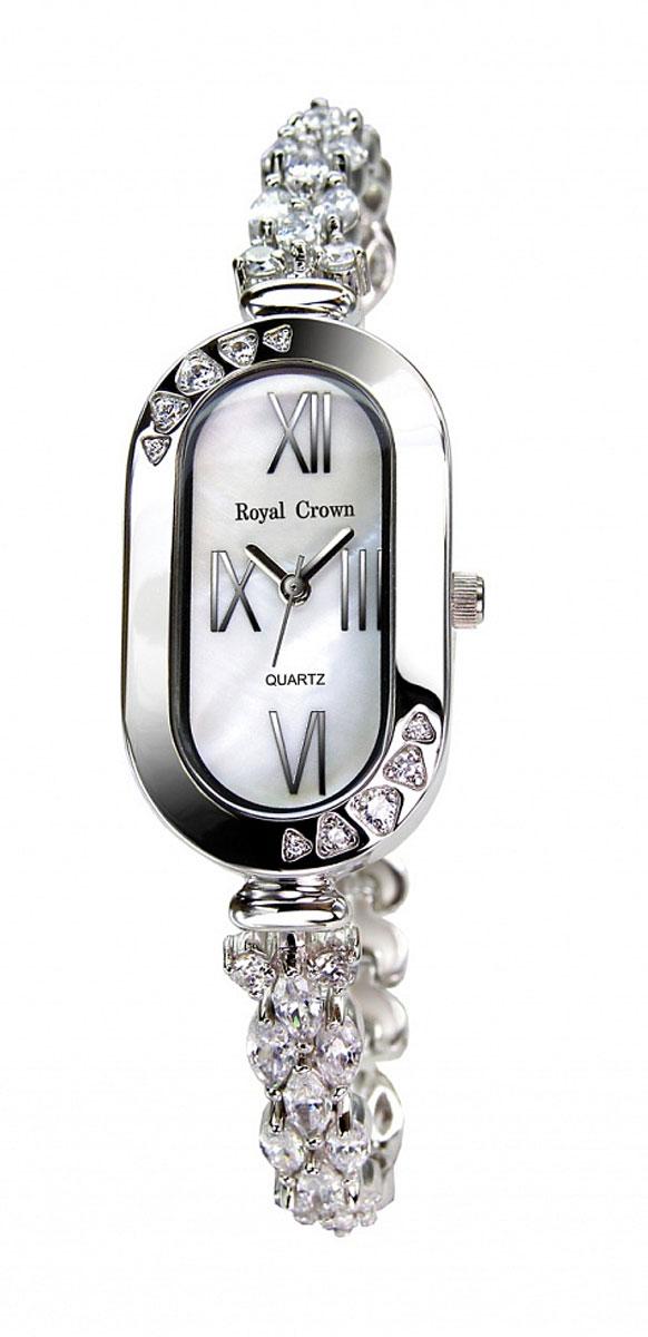 Часы женские наручные Royal Crown, цвет: серебряный, белый. 3801-RDM-53801-RDM-5Элегантные женские часы Royal Crown изготовлены из латуни нержавеющей стали и минерального стекла. Корпус и браслет изделия инкрустированы чешскими цирконами, циферблат дополнен перламутром. Корпус часов оснащен кварцевым механизмом, который имеет степень влагозащиты равную 3 Bar, а также устойчивым к царапинам минеральным стеклом. Практичный складной замок, предусмотренный в конструкции браслета, позволит снимать и надевать часы. Часы поставляются в фирменной упаковке. Часы Royal Crown подчеркнут изящность женской руки и отменное чувство стиля у их обладательницы.