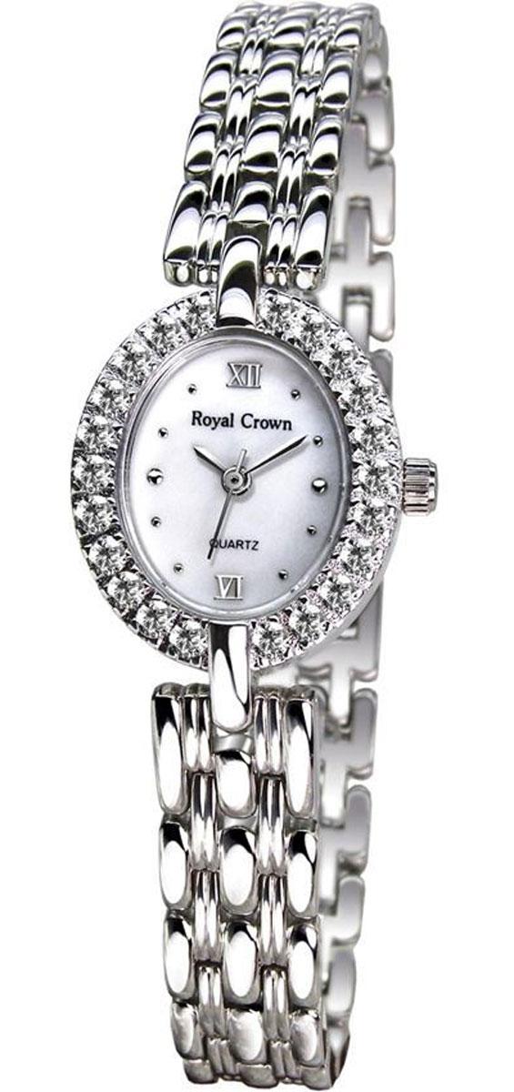 Часы женские наручные Royal Crown, цвет: серебряный, белый. 2100-B62-RDM-52100-B62-RDM-5Элегантные женские часы Royal Crown изготовлены из латуни нержавеющей стали и минерального стекла. Корпус и браслет изделия оформлены чешскими цирконами, циферблат дополнен перламутром. Корпус часов оснащен кварцевым механизмом, который имеет степень влагозащиты равную 3 Bar, а также устойчивым к царапинам минеральным стеклом. Практичный складной замок, предусмотренный в конструкции браслета, позволит снимать и надевать часы. Часы поставляются в фирменной упаковке. Часы Royal Crown подчеркнут изящность женской руки и отменное чувство стиля у их обладательницы.