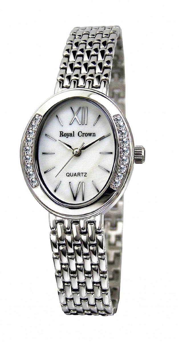 Часы женские наручные Royal Crown, цвет: серебряный, белый. 6309-RDM-66309-RDM-6Элегантные женские часы Royal Crown изготовлены из латуни нержавеющей стали и минерального стекла. Корпус изделия инкрустирован чешскими цирконами, циферблат дополнен перламутром. Корпус часов оснащен кварцевым механизмом, который имеет степень влагозащиты равную 3 Bar, а также устойчивым к царапинам минеральным стеклом. Практичный складной замок, предусмотренный в конструкции браслета, позволит снимать и надевать часы. Часы поставляются в фирменной упаковке. Часы Royal Crown подчеркнут изящность женской руки и отменное чувство стиля у их обладательницы.