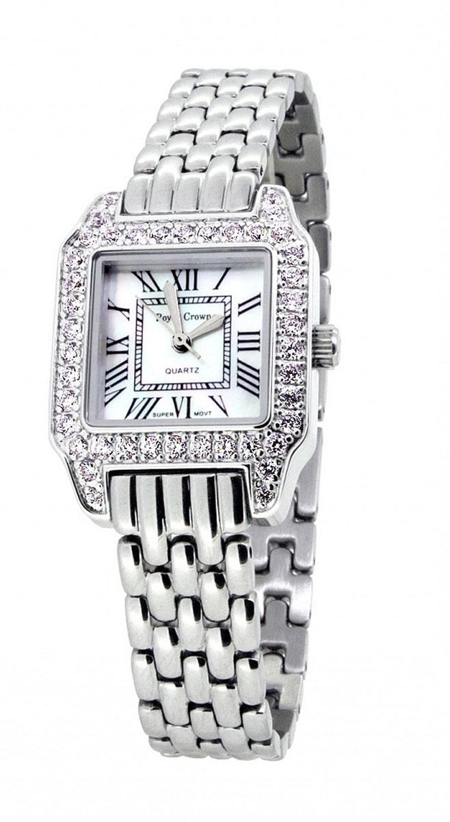 Часы женские наручные Royal Crown, цвет: серебряный, белый. 6104-RDM-66104-RDM-6Элегантные женские часы Royal Crown изготовлены из латуни нержавеющей стали и минерального стекла. Корпус изделия оформлен чешскими цирконами, циферблат дополнен перламутром. Корпус часов оснащен кварцевым механизмом, который имеет степень влагозащиты равную 3 Bar, а также устойчивым к царапинам минеральным стеклом. Практичный складной замок, предусмотренный в конструкции браслета, позволит снимать и надевать часы. Часы поставляются в фирменной упаковке. Часы Royal Crown подчеркнут изящность женской руки и отменное чувство стиля у их обладательницы.