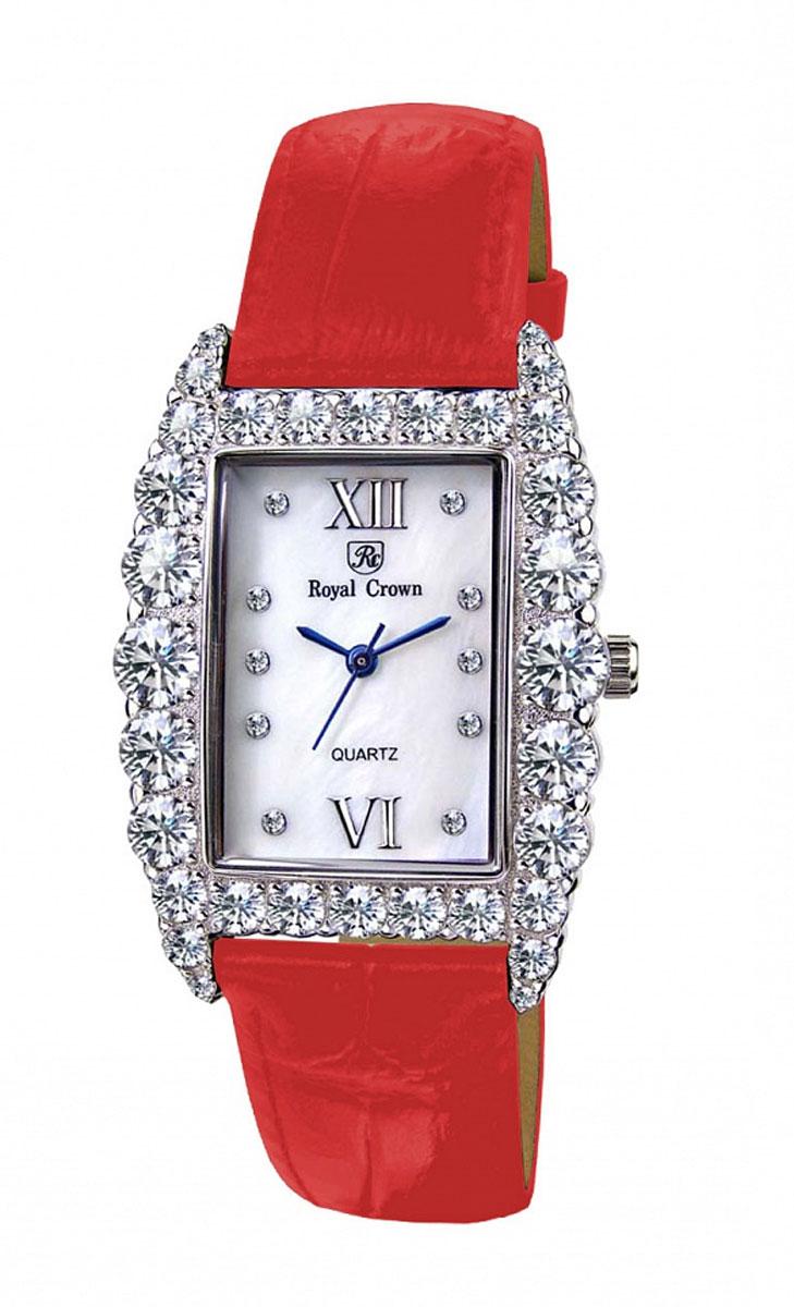 Часы женские наручные Royal Crown, цвет: красный, серебряный. 6111-RDM-36111-RDM-3Элегантные женские часы Royal Crown изготовлены из латуни нержавеющей стали, натуральной кожи и минерального стекла. Корпус и циферблат изделия инкрустированы чешскими цирконами. Корпус часов оснащен кварцевым механизмом, который имеет степень влагозащиты равную 3 Bar, а также устойчивым к царапинам минеральным стеклом. Ремешок оформлен декоративным тиснением под рептилию, дополнен классической пряжкой, которая позволит с легкостью снимать и надевать часы. Часы поставляются в фирменной упаковке. Часы Royal Crown подчеркнут изящность женской руки и отменное чувство стиля у их обладательницы.