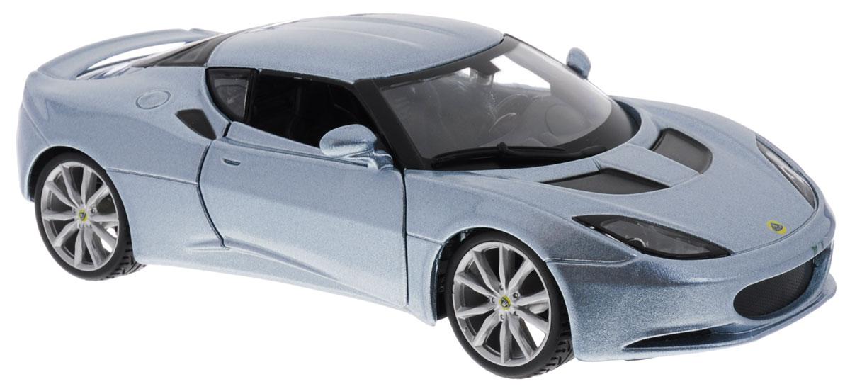 Bburago Модель автомобиля Lotus Evora S IPS18-21064Модель автомобиля Bburago Lotus Evora S IPS предназначена для тех, кто любит роскошь и высокие скорости. Привлечет к себе внимание не только детей, но и взрослых. Модель представлена в масштабе 1:24 и в точности воспроизводит все детали внешнего облика реального автомобиля. Корпус автомобиля выполнен из металла с использованием пластиковых элементов, колеса прорезинены. Модель оборудована открывающимися дверцами и подвижными колесами. Во время игры с такой машинкой у ребенка развивается мелкая моторика рук, фантазия и воображение. Ваш ребенок будет в восторге от такого чудесного подарка!