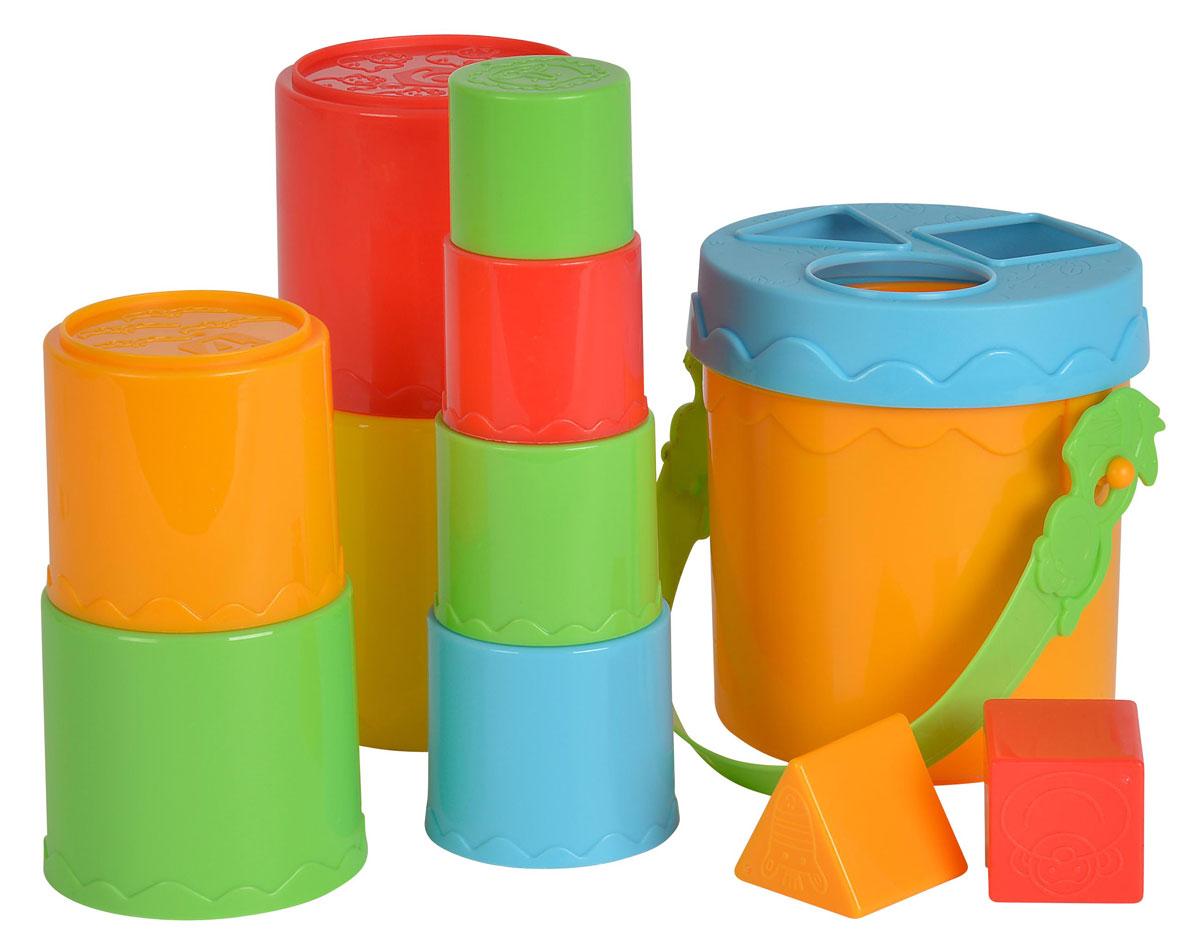 Simba Пирамидка-сортер4010583Развивающая игрушка Пирамидка-сортер представляет собой полноценный игровой набор, в который входит ведерко с крышкой, которое малыш может использовать для сортировки пластиковых разноцветных фигурок. Помимо этого, в комплекте имеется 8 ярких разноцветных горшочков, из которых можно построить достаточно высокую башенку. Эти пластмассовые элементы идеально подогнаны друг к другу. Играть с пирамидкой очень увлекательно. Складывая элементы пирамидки, малыш развивает логическое мышление, память, учится различать цвета и формы предметов.