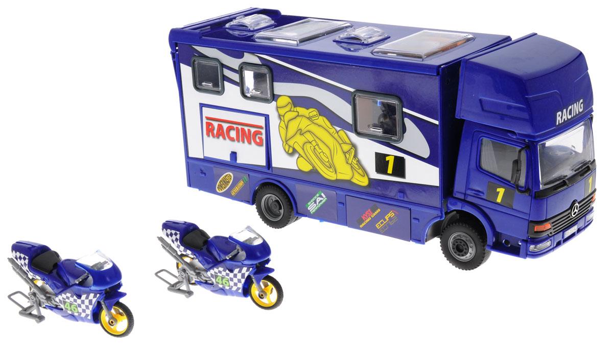Dickie Toys Трейлер для мотогонок c 2 мотоциклами цвет синий3414861_синийТрейлер Dickie Toys обязательно понравится вашему ребенку. Игрушка выполнена из прочного и безопасного пластика в виде трейлера для мотогонок. Кабина водителя наклоняется вперед, задняя стенка машины откидывается, превращаясь в трап. Крыша сдвигается, открывая доступ в салон. Также у трейлера открываются боковая дверь, окна и 2 люка в крыше. Колеса игрушки свободно вращаются. В комплект входят 2 пластиковых мотоцикла, прорезиненные колеса которых имеют свободный ход. С такой игрушкой ваш малыш будет часами занят игрой. Порадуйте его таким замечательным подарком!