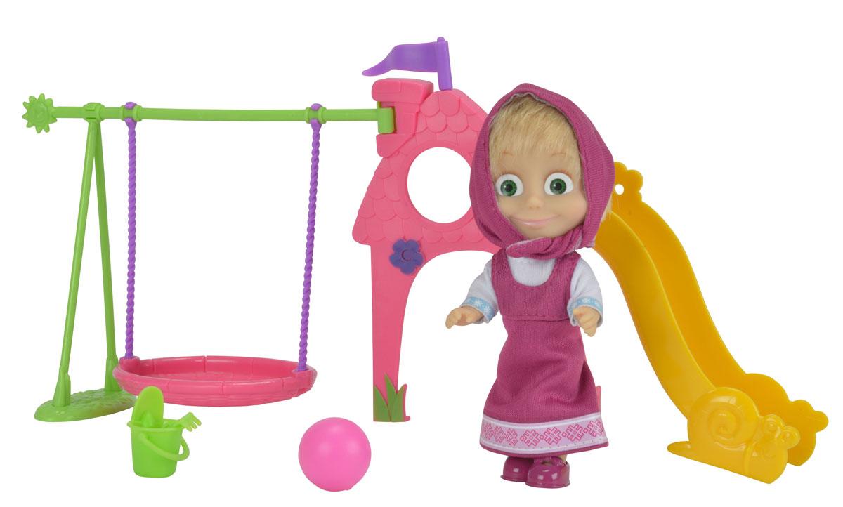 Simba Игровой набор Маша с детской игровой площадкой9301816Игровой набор с мини-куклой Маша непременно понравится вашей малышке и надолго займет ее внимание. Кукла выполнена из безопасного материала в виде персонажа Маши из мультсериала Маша и Медведь. Куколка одета в малиновый сарафан и белую рубашку. Маша решила отдохнуть и погулять на детской площадке. Ей очень весело качаться на ярких качелях и скатываться с горки. А еще она может поиграть в мяч или в песочек. Для этого имеется ведерко, грабельки и совочек. Ручки, ножки и голова у Маши подвижны. У куколки зеленые глаза и задорная улыбка, а из-под косынки выглядывает непослушная челка. Оригинальный стиль и великолепное качество исполнения делают эту игрушку чудесным подарком к любому празднику, а жизнерадостный образ представит такой подарок в самом лучшем свете.