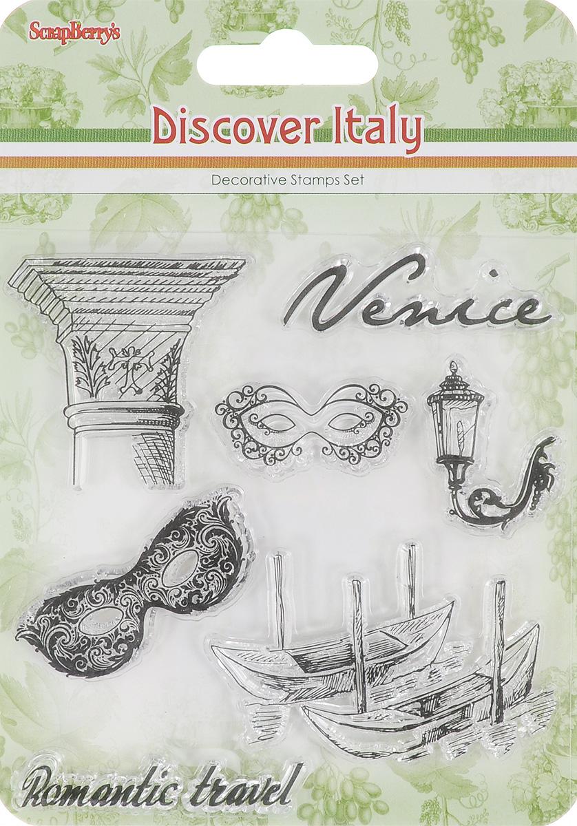 Набор декоративных штампов ScrapBerrys Итальянские каникулы. Венеция, 7 шт. 77147037714703Набор декоративных штампов ScrapBerrys Итальянские каникулы. Венеция состоит из 7 прозрачных силиконовых элементов, выполненных в виде надписей, карнавальных масок и прочей символичной атрибутики Венеции. Штампы используются для нанесения красивого и ровного рисунка на творческую работу при помощи чернил. Для этого необходимо снять штамп, закрасить его чернилами и прижать в требуемом месте. Изделия предназначены для творческих работ в стиле скрапбукинг, декорирования, оформления альбомов, книг, коробок, фоторамок и других предметов. Разнообразьте свои вещи и украсьте их великолепными оттисками. Количество штампов: 7 шт. Размер самого большого штампа: 6 х 4 см. Размер самого маленького штампа: 6,5 х 0,5 см.