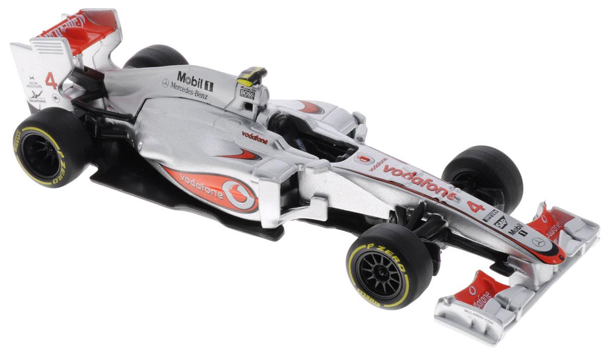 Bburago Модель автомобиля Формула-1 McLaren Mercedes MP4-27 Lewis Hamilton18-41205Модель автомобиля Bburago Формула-1. McLaren Mercedes MP4-27 Lewis Hamilton предназначена для тех, кто любит роскошь и высокие скорости. Модель представлена в масштабе 1:32 и в точности воспроизводит все детали внешнего облика реального гоночного автомобиля. Корпус автомобиля выполнен из металла с использованием пластиковых элементов, колеса прорезинены. Модель оснащена подвижными колесами. Во время игры с такой машинкой у ребенка развивается мелкая моторика рук, фантазия и воображение. Ваш малыш часами будет играть с моделью, придумывая различные истории и устраивая соревнования. Порадуйте его таким замечательным подарком!