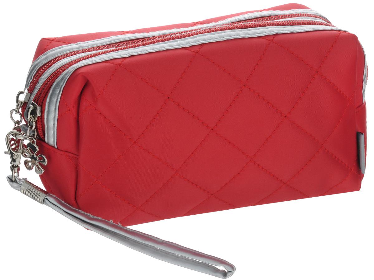 Органайзер для косметики El Casa, цвет: красный, 20 х 8 х 10 см790057Стильный органайзер El Casa предназначен для хранения и транспортировки косметических средств, средств по уходу и других мелочей. Изделие, выполненное из плотного полиэстера и ПВХ, с внешней стороны оформлено прострочкой. Имеет два главных отделения, закрывающихся на застежку-молнию. В комплекте - съемный ремешок, с помощью которого аксессуар можно повесить на запястье. Органайзер для косметики El Casa станет незаменимым помощником в поездке и дома.