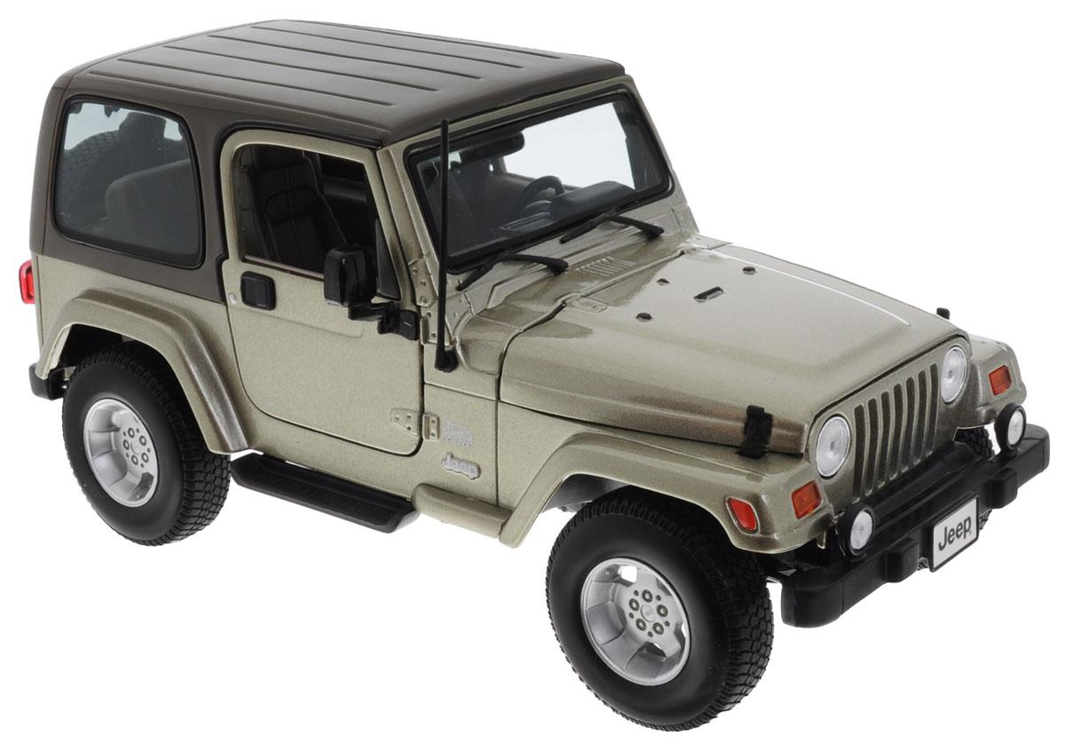 Bburago Модель автомобиля Jeep Wrangler Sahara18-12014Модель автомобиля Bburago Jeep Wrangler Sahara будет отличным подарком как ребенку, так и взрослому коллекционеру. Благодаря броской внешности, а также великолепной точности, с которой создатели этой модели масштабом 1:18 передали внешний вид настоящего автомобиля, модель станет подлинным украшением любой коллекции авто. Машина будет долго служить своему владельцу благодаря металлическому корпусу с элементами из пластика. Дверцы машины, капот и багажник открываются, шины обеспечивают отличное сцепление с любой поверхностью пола. Модель автомобиля Bburago Jeep Wrangler Sahara обязательно понравится вашему ребенку и станет достойным экспонатом любой коллекции.