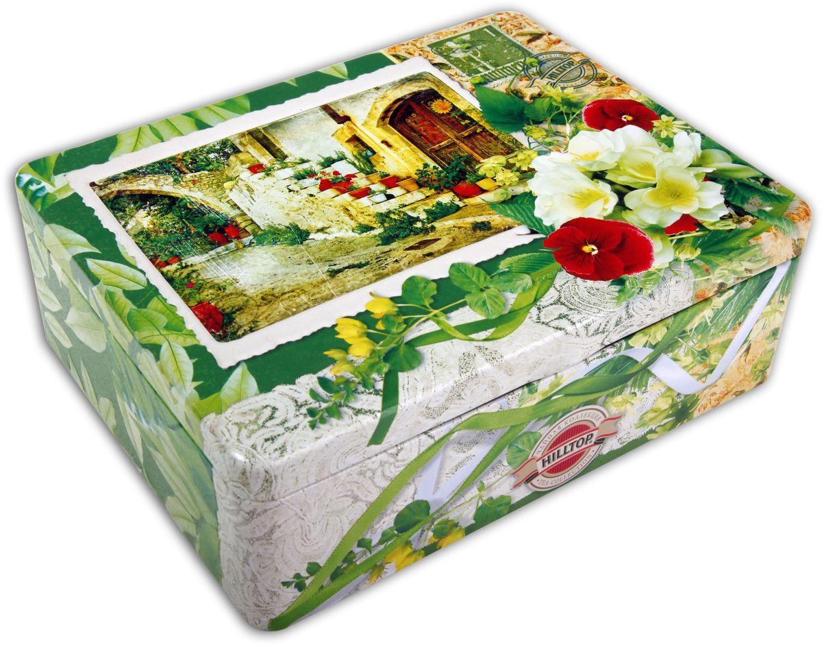 Hilltop Итальянский дворик чайный набор, 200 г4607099302662Чайный набор Hilltop Итальянский дворик поставляется в подарочной шкатулке с крышкой. Внутри 4 жестяные чайницы и металлическое заварное ситечко. Состав набора: Цейлонский чай (50 г) — особый сорт черного цейлонского байхового среднелистового чая, содержащий большое количество эфирных масел, с богатым вкусом, насыщенным ароматом и выраженным тонизирующим эффектом. Солнечный апельсин (50 г) — деликатно сбалансированная смесь черного и зеленого чая с цедрой лимона и апельсина. Чай с сияющим цветом и бархатным вкусом. Душистый зеленый чай (50 г) с экстрактом плодов саусепа - ароматного тропического фрукта. Полуферментированный Оолонг (50 г) сочетает свойства зеленого и черного чая, яркий аромат и насыщенный вкус для восстановления жизненных сил.