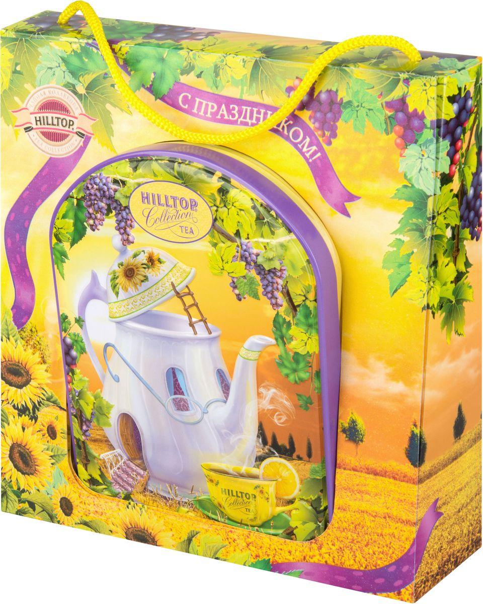 Hilltop Веселый чайник Подарок Цейлона черный листовой чай, 100 г (в футляре)4607099305236Hilltop Веселый чайник Подарок Цейлона - крупнолистовой цейлонский черный чай с глубоким, насыщенным вкусом и изумительным ароматом. Благодаря красивой праздничной упаковке вы можете подарить этот прекрасный чай своим друзьям и близким.