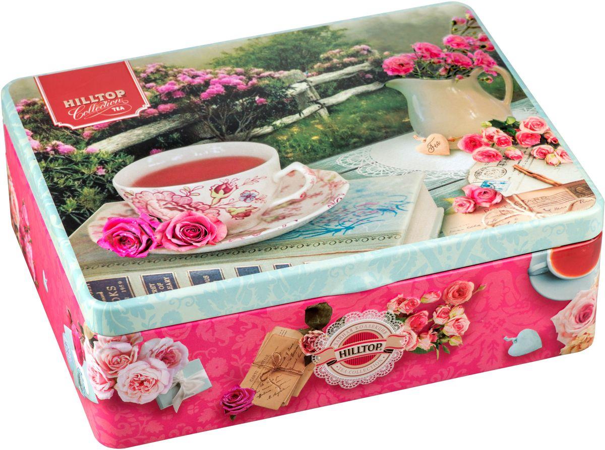 Hilltop Английское чаепитие черный листовой чай, 200 г4607099306264Чайный подарочный набор Hilltop Английское чаепитие поставляется в красивой жестяной шкатулке с крышкой. Внутри 4 жестяные чайницы и металлическое заварное ситечко. Состав набора: Терпко-сладкий черный Цейлонский чай (50 г) Ароматная фантазия (50 г) — нежная и душистая смесь чёрного и зелёного чаёв с листьями и лепестками мелиссы, чабреца, душицы, мальвы, зверобоя и сафлора, с добавлением плодов шиповника и боярышника Спешиал Ганпауда (50 г) — пробуждающий высокогорный зеленый чай, 50 г Эрл Грей (50 г) — ароматизированный черный чай с цедрой лимона и ароматом бергамота