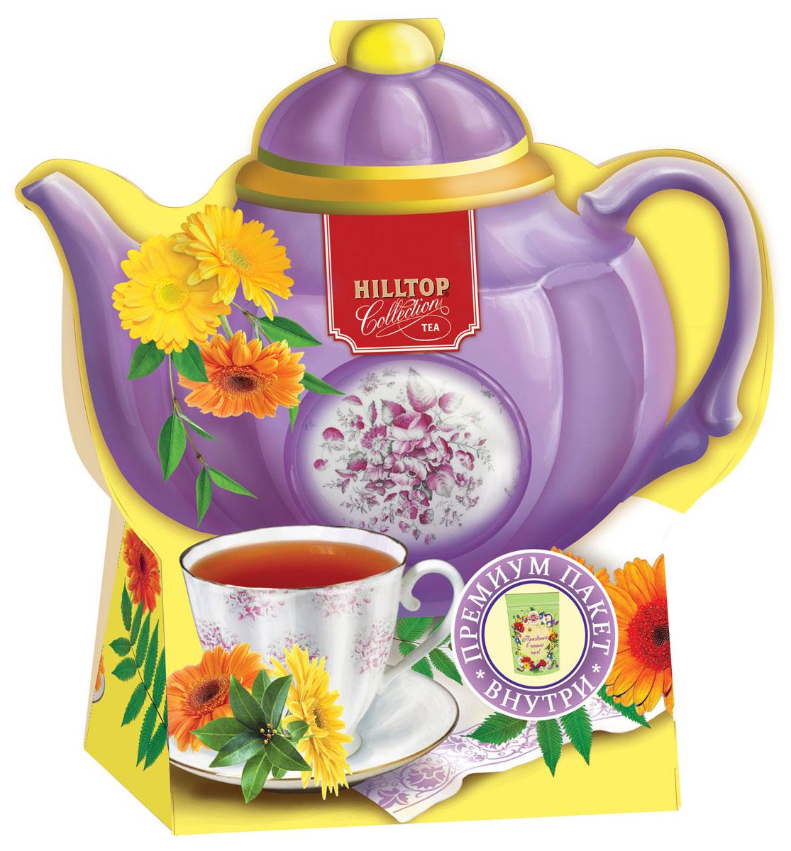 Hilltop Подарок Цейлона черный листовой чай, 80 г (чайник фиолетовый)4607099306721Крупнолистовой цейлонский черный чай Hilltop Подарок Цейлона с глубоким, насыщенным вкусом и изумительным ароматом. Благодаря красивой праздничной упаковке вы можете подарить этот прекрасный чай своим друзьям и близким.