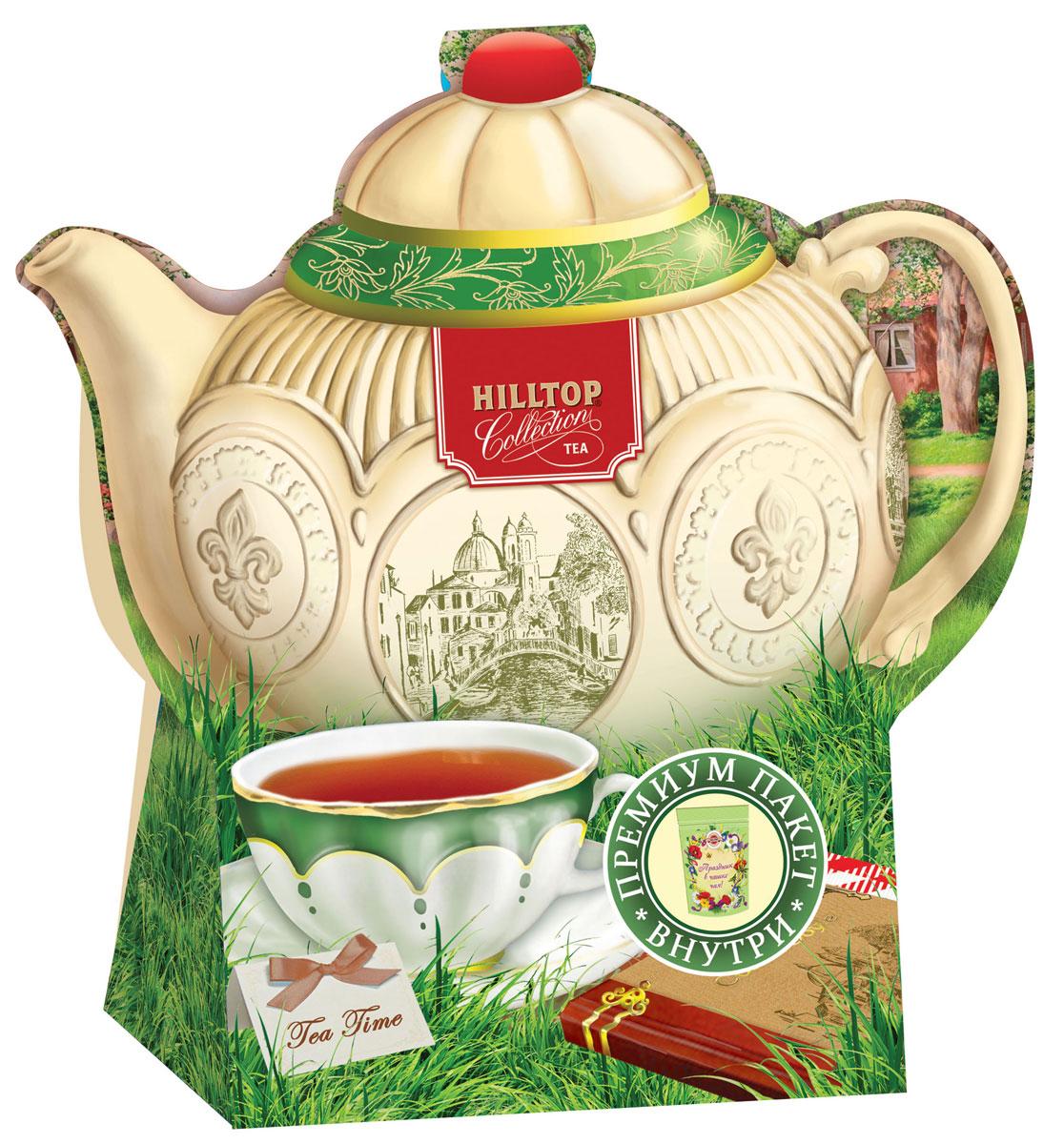 Hilltop Подарок Цейлона черный листовой чай, 80 г (чайник Английский)4607099306721Крупнолистовой цейлонский черный чай Hilltop Подарок Цейлона с глубоким, насыщенным вкусом и изумительным ароматом. Благодаря красивой праздничной упаковке вы можете подарить этот прекрасный чай своим друзьям и близким.