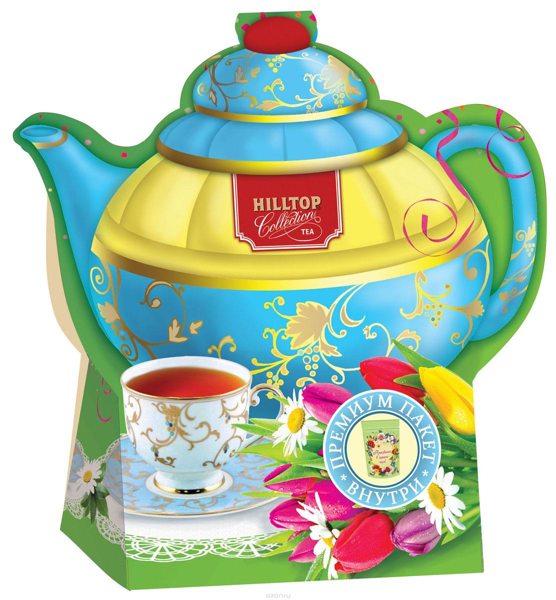 Hilltop Подарок Цейлона черный листовой чай, 80 г (чайник Тюльпаны)4607099306721Крупнолистовой цейлонский черный чай Hilltop Подарок Цейлона с глубоким, насыщенным вкусом и изумительным ароматом. Благодаря красивой праздничной упаковке вы можете подарить этот прекрасный чай своим друзьям и близким.