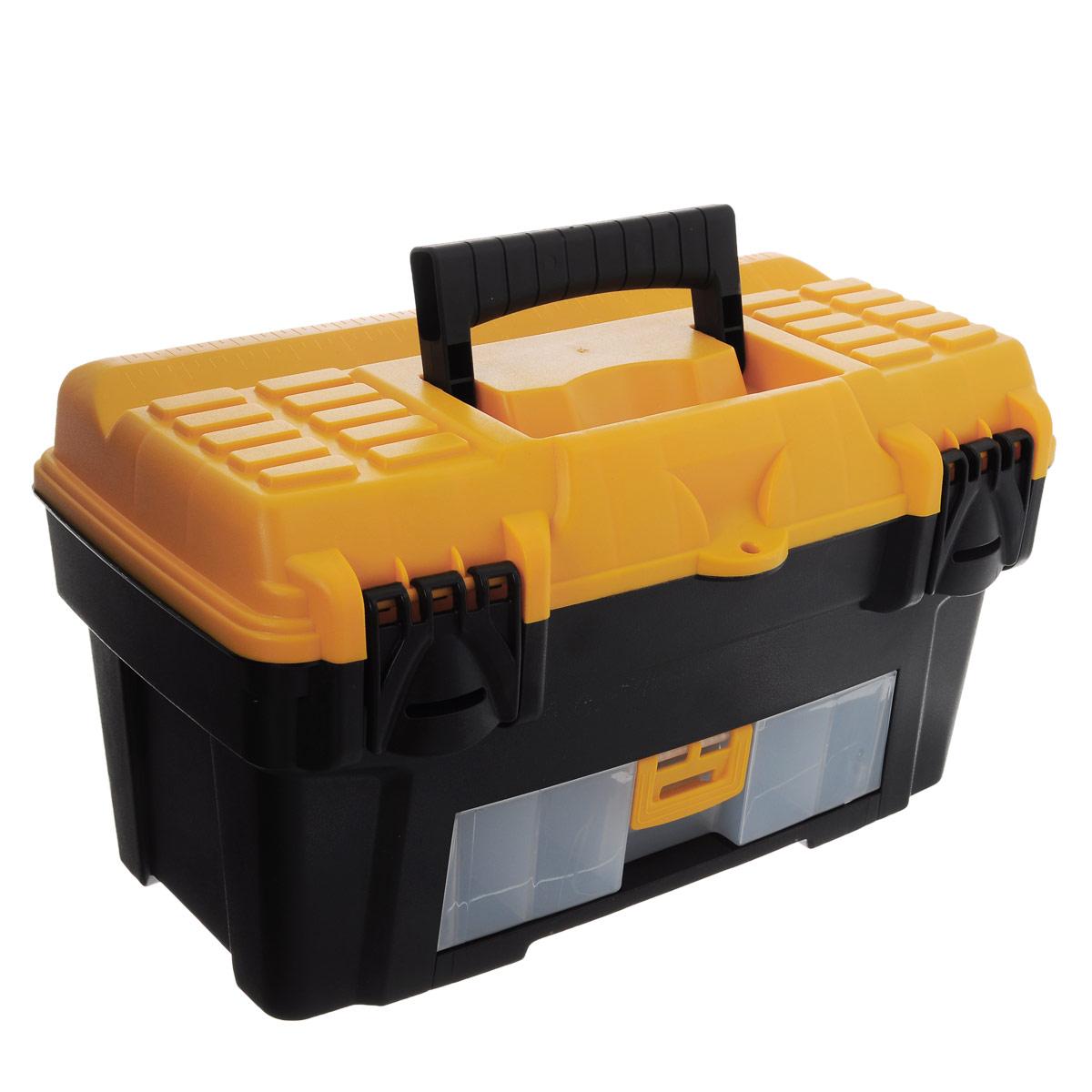 Ящик для инструментов Idea Атлант 18, 43 х 23,5 х 25 смМ 2922Ящик Idea Атлант 18 изготовлен из прочного пластика и предназначен для хранения и переноски инструментов. Вместительный, внутри имеет большое главное отделение. В комплект входит съемный лоток с ручкой для инструментов. Ящик закрывается при помощи крепких защелок, которые не допускают случайного открывания. Для более комфортного переноса в руках, на крышке ящика предусмотрена удобная ручка.