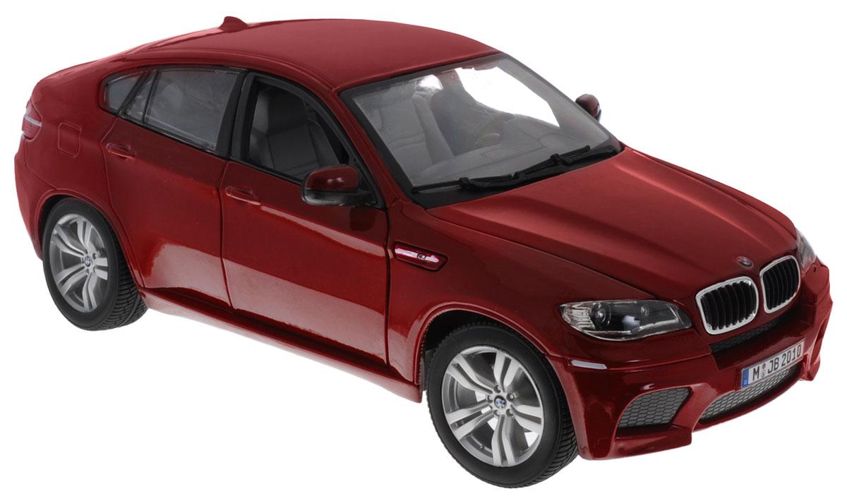Bburago Модель автомобиля BMW X6 M цвет бордовый18-12081Модель автомобиля Bburago BMW X6 M бордового цвета - отличный подарок как ребенку, так и взрослому коллекционеру. Благодаря броской внешности, а также великолепной точности, с которой создатели этой модели масштабом 1:18 передали внешний вид настоящего автомобиля, модель станет подлинным украшением любой коллекции авто. Машина будет долго служить своему владельцу благодаря металлическому корпусу с элементами из пластика. Дверцы машины, капот и багажник открываются, шины обеспечивают отличное сцепление с любой поверхностью пола. Модель автомобиля Bburago BMW X6 M обязательно понравится вашему ребенку и станет достойным экспонатом любой коллекции.