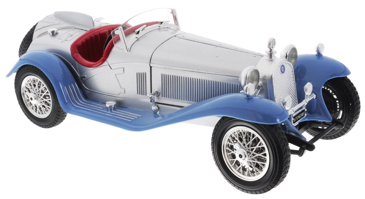 Bburago Модель автомобиля Alfa Romeo 8C 2300 Spider Touring 1932 цвет серебристый голубой18-12063Модель автомобиля Bburago Alfa Romeo 8C 2300 Spider Touring (1932) будет отличным подарком как ребенку, так и взрослому коллекционеру. Благодаря броской внешности, а также великолепной точности, с которой создатели этой модели масштабом 1:18 передали внешний вид настоящего автомобиля 1932 года выпуска, модель станет подлинным украшением любой коллекции авто. Машина будет долго служить своему владельцу благодаря металлическому корпусу с элементами из пластика. При повороте руля колеса изменяют свое направление, а шины обеспечивают отличное сцепление с любой поверхностью пола. Модель автомобиля Bburago Alfa Romeo 8C 2300 Spider Touring (1932) обязательно понравится вашему ребенку и станет достойным экспонатом любой коллекции.