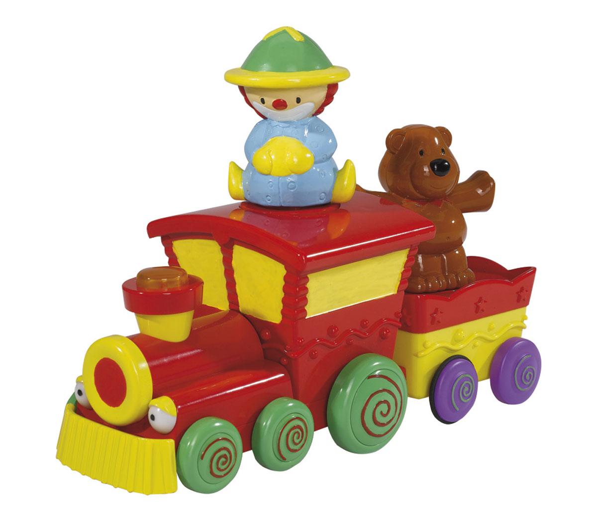 Simba Паровозик цвет красный4017147Красочная развивающая игрушка Simba Паровозик понравится любому малышу. Игрушка изготовлена из высококачественного пластика ярких цветов в виде забавного паровозика с вагончиком. Вместе с веселым клоуном и медвежонком малыш отправляется в путешествие. Фигурки можно менять местами и сажать их на паровозик, или вагончик. Если нажать на кнопку на трубе паровозика, то услышите звук настоящего поезда. Паровозик может двигаться, а при встрече с преградой, разворачивается и едет в другую сторону. Ребенку будет интересно передвигаться за ездящим паровозиком по комнате - ползком, или даже делая первые шаги. Благодаря данной игрушке ребенок будет развивать мелкую моторику и цветовое и звуковое восприятие. Для работы необходимы 2 батарейки типа АА (комплектуется демонстрационными).