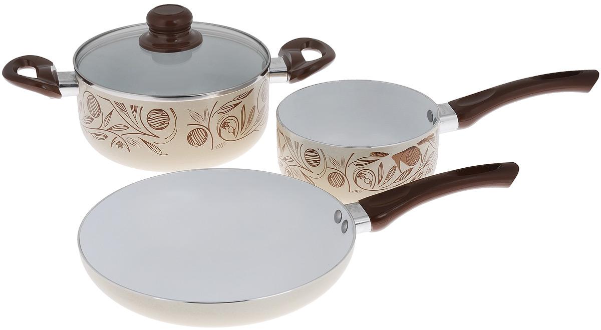 Набор кухонной посуды Calve Premium Quality, цвет: бежевый, коричневый, 4 предметаCL-1921Набор кухонной посуды Calve Premium Quality состоит из сотейника, кастрюли со стеклянной крышкой и сковороды. Все предметы набора выполнены из алюминия с внутренним керамическим покрытием, а внешние стороны украшены стильным термостойким покрытием. Изделия оснащены удобной ручкой, выполненной из бакелита. Такая ручка не нагревается в процессе готовки и обеспечивает надежный хват. Толщина стенок: 2,5 мм. Диаметр сотейника: 16 см. Высота стенок сотейника: 7 см. Объем сотейника: 1,5 л. Длина ручки: 16,5 см. Диаметр кастрюли: 20 см. Высота стенок кастрюли: 8,5 см. Объем кастрюли: 2,8 л. Длина кастрюли вместе с ручками: 34,5 см. Диаметр сковороды: 24 см. Высота стенок сковроды: 4,5 см. Длина ручки: 16,5 см.