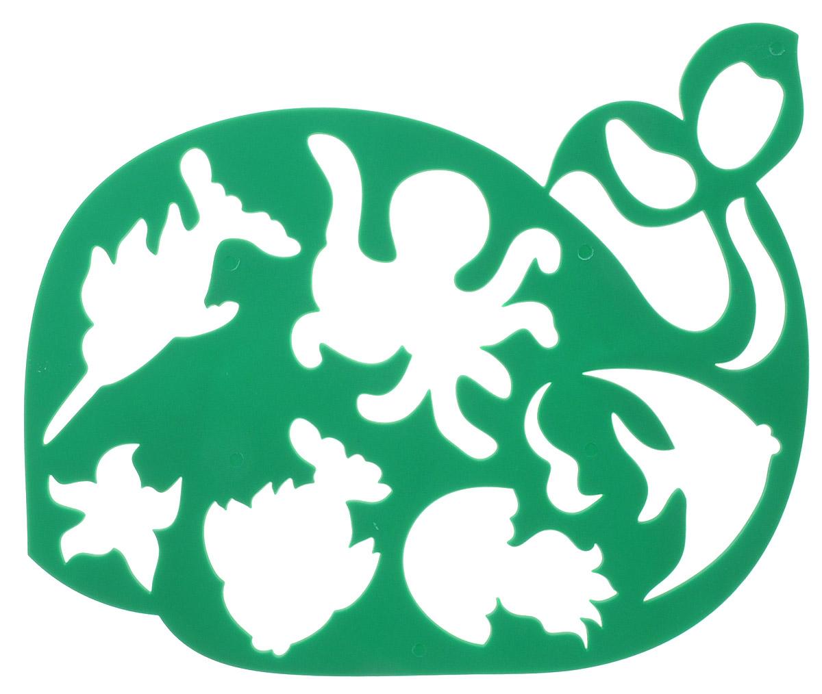 Луч Трафарет фигурный Китенок и его друзья цвет зеленый17С 1146-08Трафарет Луч Китенок и его друзья, выполненный из безопасного пластика, предназначен для детского творчества. При помощи этого трафарета ребенок может нарисовать забавного китенка, исследовать океан и познакомиться с его обитателями. Трафарет можно использовать для рисования отдельных персонажей и композиций, а также для изготовления аппликаций. Для этого необходимо положить трафарет на лист бумаги, обвести фигуру по контуру и раскрасить по своему вкусу или глядя на цветную картинку-образец. Трафареты предназначены для развития у детей мелкой моторики и зрительно-двигательной координации, навыков художественной композиции и зрительного восприятия.
