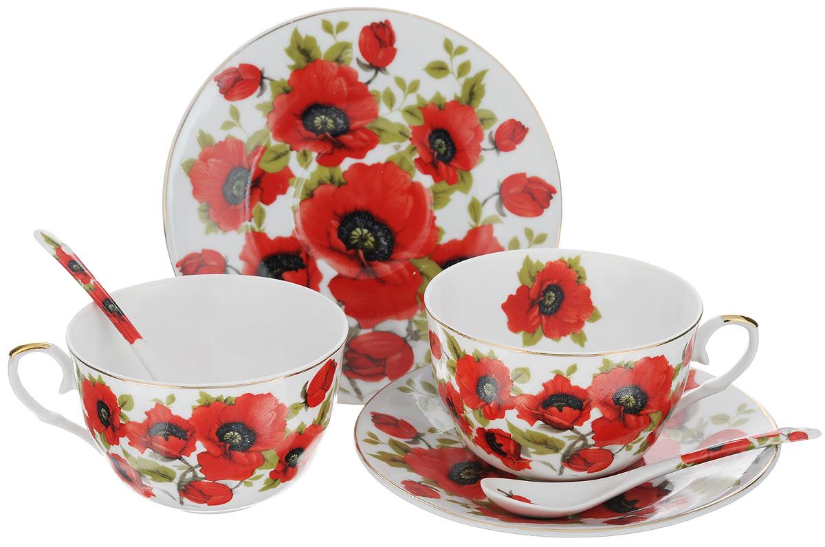 Набор чайный Elan Gallery Маки, 6 предметов. 180798180798Набор чайный Elan Gallery Маки состоит из двух чашек, двух блюдец и двух чайных ложек, выполненных из высококачественной керамики. Изделия оформлены оригинальным цветочным рисунком. Изящный набор эффектно украсит стол к чаепитию и порадует вас функциональностью и ярким дизайном. Объем чашки: 250 мл. Диаметр чашки (по верхнему краю): 9,5 см. Высота чашки: 6 см. Диаметр блюдца: 15 см. Длина чайной ложки: 12,5 см.