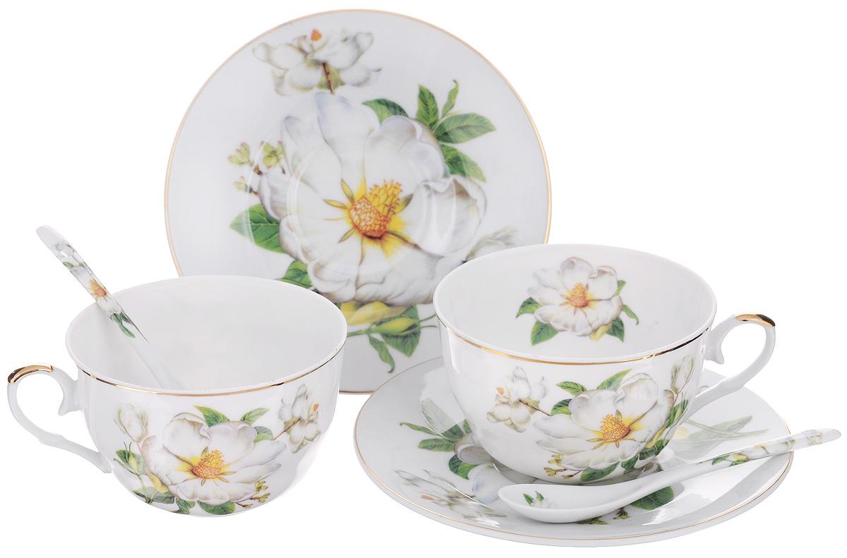 Набор чайный Elan Gallery Белый шиповник, 6 предметов180791Набор чайный Elan Gallery Белый шиповник состоит из двух чашек, двух блюдец и двух ложек, выполненных из высококачественной керамики. Изделия оформлены изящным цветочным рисунком. Изящный набор эффектно украсит стол к чаепитию и порадует вас функциональностью и ярким дизайном. Объем чашки: 250 мл. Диаметр чашки (по верхнему краю): 9,5 см. Высота чашки: 6 см. Диаметр блюдца: 15 см. Длина чайной ложки: 12,5 см.