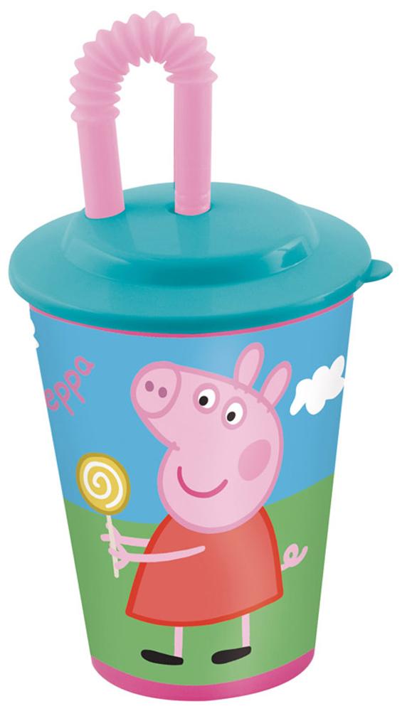 Peppa Pig Стакан детский Свинка Пеппа 450 мл48623Стакан детский Peppa Pig Свинка Пеппа с крышкой и трубочкой - прекрасно подойдет для прогулок или поездок, ведь он не может разбиться или поранить ребенка. Так же он украшен изображением главное героини популярного мультфильма Свинка Пеппа.
