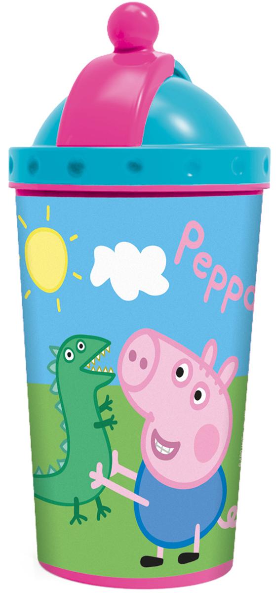 Peppa Pig Фляга детская Свинка Пеппа52845Фляга ПЕППА ПИГ 450 мл с крышкой и трубочкой, дизайн 3Д