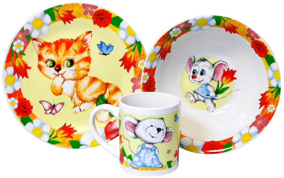 МФК-профит Набор детской посуды Кошки-мышкиMFK04017Набор Кошки-мышки 3 предмета (тарелка 19 см, миска 18 см, кружка 240 мл) в подарочной упаковке