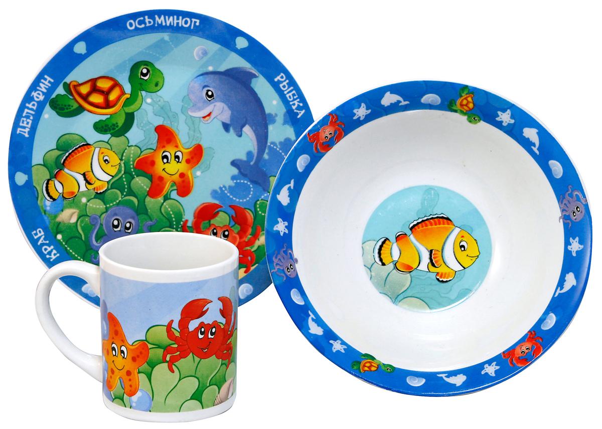 МФК-профит Набор детской посуды Морские животныеMFK04009Набор Морские животные 3 предмета (тарелка 19 см, миска 18 см, кружка 240 мл) в подар. упаковке