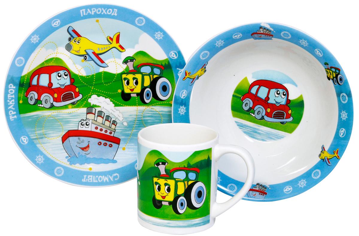 МФК-профит Набор детской посуды ТранспортMFK04001Набор Транспорт 3 предмета (тарелка 19 см, миска 18 см, кружка 240 мл) в подарочной упаковке