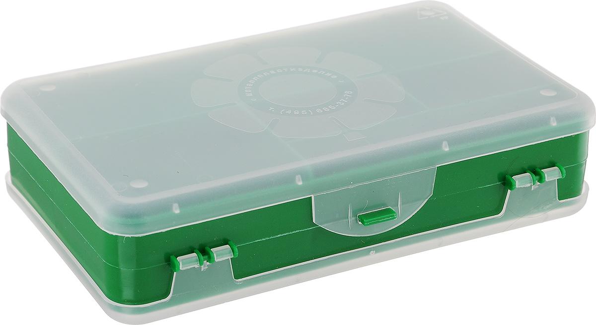 Шкатулка для мелочей Айрис, двухсторонняя, цвет: зеленый, прозрачный, 21,5 х 12,5 х 5 см. 533758533758_зеленыйШкатулка для мелочей изготовлена из пластика. Шкатулка двухсторонняя, поэтому в ней можно хранить больше мелочей. Подходит для швейных принадлежностей, рыболовных снастей, мелких деталей и других бытовых мелочей. В одном отделении 4 секции, в другом - 5. Удобный и надежный замок-защелка обеспечивает надежное закрывание крышек. Изделие легко моется и чистится. Такая шкатулка поможет держать вещи в порядке. Размер самой большой секции: 21 х 6 х 2,3 см. Размер самой маленькой секции: 13 х 2,3 х 2,3 см.