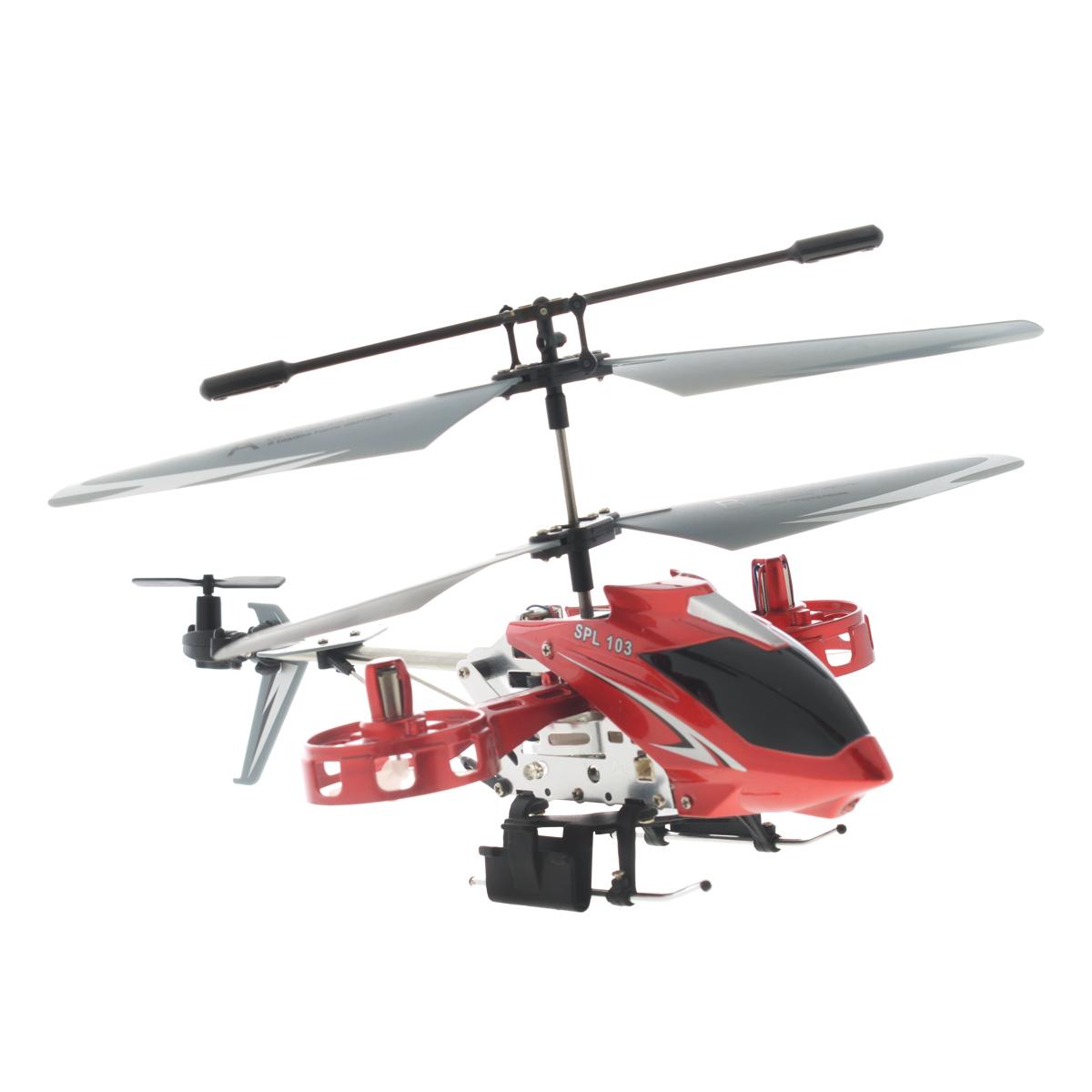SPL-Technik Вертолет на радиоуправлении SPL 103IG104Радиоуправляемая модель Вертолет SPL 103 - отличный подарок для вашего ребенка. Изюминка модели - в ее оригинальной конструкции: две боковых моторных гондолы добавляют заложенному в основу трехканальному прототипу возможность управления креном, то есть движением боком влево или вправо. Вы даже можете попробовать на нем простые фигуры высшего пилотажа. Благодаря наличию встроенного гироскопа, вертолетом очень легко и просто управлять. При наличии желания и терпения любой новичок сможет поднять вертолет в воздух и насладиться полетом. Вертолет работает от встроенного литий-полимерного аккумулятора c напряжением 3,7V 220 mAh (входит в комплект). Пульт управления работает от 6 батареек типа АА (не входят в комплект). Время нахождения в полете: 6-8 минут. Дальность сигнала: 10 м. Необходимое время для подзарядки: 40 минут.