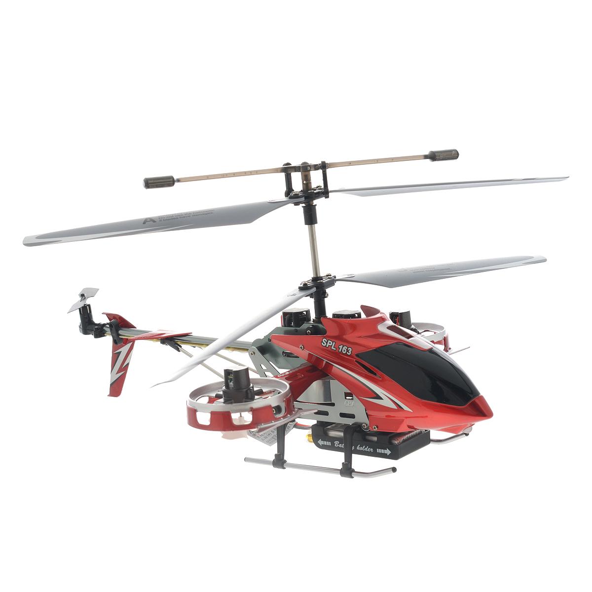 SPL-Technik Вертолет на радиоуправлении SPL 163IG139Радиоуправляемая модель Вертолет SPL 103 - отличный подарок для вашего ребенка. Самый крупный вертолет в линейке SPL. Изюминка модели - в ее оригинальной конструкции: две боковых моторных гондолы добавляют заложенному в основу трехканальному прототипу возможность управления креном, то есть движением боком влево или вправо. Вы даже можете попробовать на нем простые фигуры высшего пилотажа. Благодаря наличию встроенного гироскопа, вертолетом очень легко и просто управлять. При наличии желания и терпения любой новичок сможет поднять вертолет в воздух и насладиться полетом. Вертолет работает от встроенного литий-полимерного аккумулятора c напряжением 3,7V 800 mAh (входит в комплект). Пульт управления работает от 4 батареек типа АА (не входят в комплект). Время нахождения в полете: 6-8 минут.