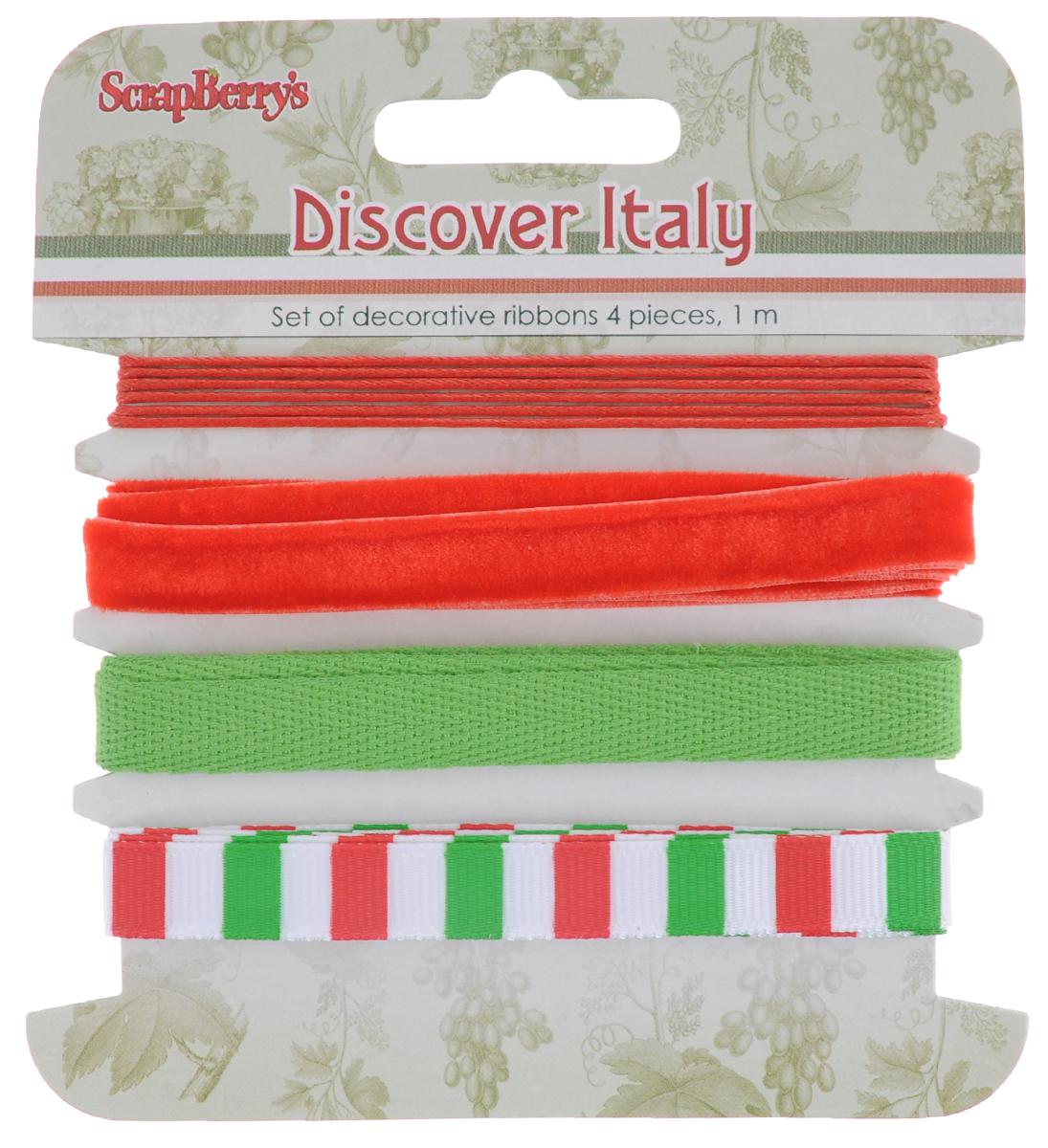 Набор декоративных лент ScrapBerrys Итальянские каникулы, 1 м, 4 штSCB390521Набор ScrapBerrys Итальянские каникулы включает шнурок и 3 декоративные ленты с различной текстурой и декором. Такие ленты прекрасно подойдут для оформления творческих работ в технике скрапбукинг, а также для изготовления бижутерии, бантиков, декора одежды и аксессуаров. Они разнообразят вашу работу и добавят вдохновения для новых идей. Длина лент и шнурка: 1 м. Ширина лент: 1 см. Толщина шнурка: 1 мм.