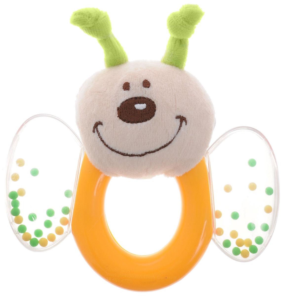 Simba Погремушка Насекомые цвет желтый салатовый4014729Замечательная игрушка-погремушка Simba Насекомые, несомненно, вызовет улыбку и положительные эмоции у вашего малыша. Состоит погремушка из кольца, прозрачных крылышек с гремящими шариками и мягкой мордочки насекомого. Погремушка сочетает в себе яркие элементы с различными функциональными возможностями. Кольцо очень удобно для захвата маленькими детскими пальчиками, поэтому при помощи этой игрушки малыша будет легко научить удерживать предметы. В игровой форме малыш ознакомится с такими понятиями, как звук, цвет и форма предмета. Благодаря данной игрушке ребенок будет развивать мелкую моторику и воображение.