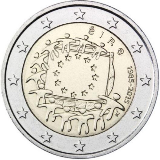 Монета номиналом 2 евро 30 лет флагу Европы. Ирландия, 2015 год739Диаметр монеты: 25,0 мм Тираж: 1 000 000 шт. Гурт: рифленый с надписью.