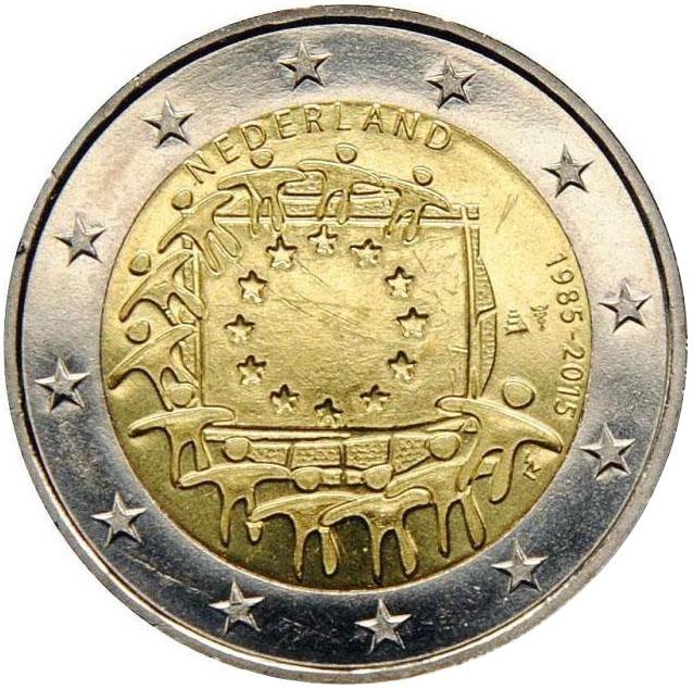 Монета номиналом 2 евро 30 лет флагу Европы. Нидерланды, 2015 год739Диаметр монеты: 25,0 мм Тираж: 1 000 000 шт. Гурт: рифленый с надписью.
