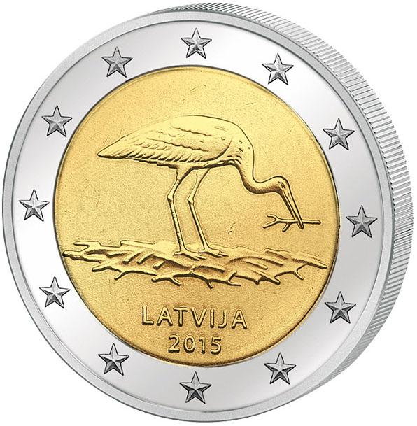 Монета номиналом 2 евро Черный Аист. Латвия, 2015 год739Диаметр монеты: 25,0 мм Тираж: 1 000 000 шт. Гурт: рифленый с надписью.