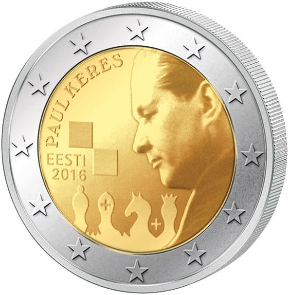 Монета номиналом 2 евро 100 лет со дня рождения Пауля Кереса. Эстония, 2016 год739Диаметр монеты: 25,0 мм Тираж: 500 000 шт. Гурт: рифленый с надписью.