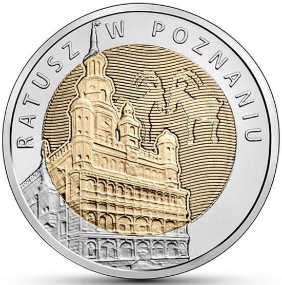 Монета номиналом 5 злотых Ратуша в Познани. Польша, 2015 год739Диаметр монеты: 24,0 мм Тираж: 1 200 000 шт. Гурт: рифленый.